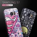 Novo luxo para Samsung Galaxy caso S7 cobre pintura dos desenhos animados magro Silicon seda padrão suave tampa traseira para Samsung Galaxy S7
