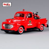 Maisto 1:24 1948 harley ford F1 red pick up big truck model American truck pick up vehicle diecast for ford with motorbike 32191