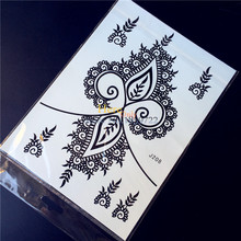 1PC Large Black Ink Henna Women Body Art Arm Tattoos HBJ208 Lace Flower Leaf Design Waterproof Temporary Tattoo Stickers Makeup