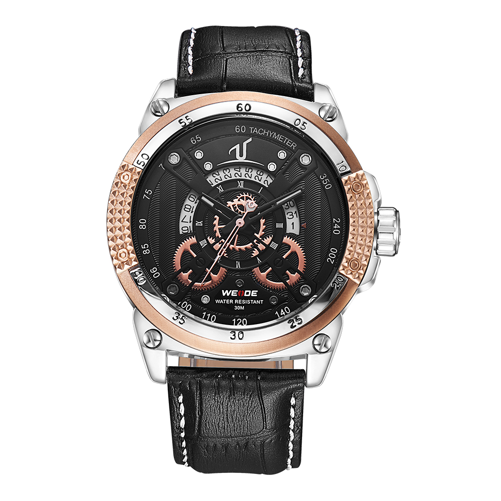 WEIDE Fashion Casual Auto Date Watch Men Quartz Genuine Leather Strap Buckle Mens Watch Golden Clock Analog Calendar Wristwatch weide watch men leather strap cool skull dial analog display date clock buckle band mens casual quartz watch relogio masculino