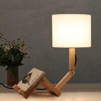 Loft Robot Fold Industrial Table Light Edison Desk Wood Man Lamp Cafe Club