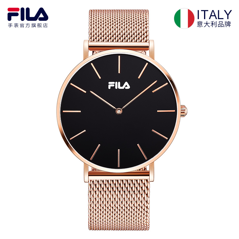 Fila Gold Black New Watches Mens Quartz Watch Stainless Steel Mesh Band Slim Men Gold Watch Student Sports Wristwatch 778 fashion men s casual quartz watch stainless steel mesh band gold watch slim men watches multi function sports watches relogio