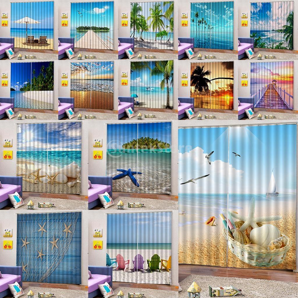 1 Pair 3D Digital Photo Print Sea Style Curtains Blackout Window Drapes Home Window Room Decor, 2 Panels/ Set, 59x65inches