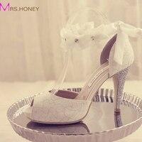 2015 Peep Toe Lady Formal Dress Shoes Women High Heeled Shoes Beautiful White Lace Wedding Bridal