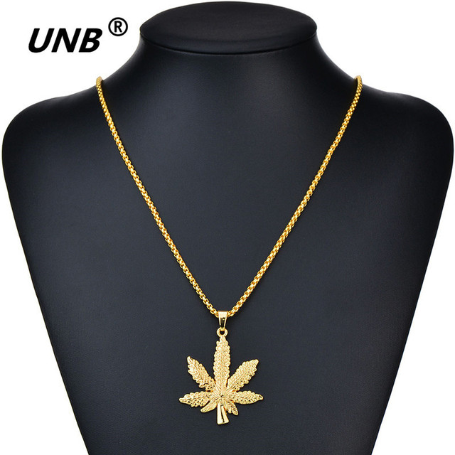 UNB 2017 New Gold Silver Plated Cannabiss Small Weed Herb Charm Necklace Maple Leaf Pendant Necklace Hip Hop Jewelry Wholesale 5