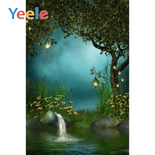 Yeele Spring Forest Flower Night Scene Fairy Tale Nature Photography Backgrounds River Light Baby Props Children Photo Backdrops