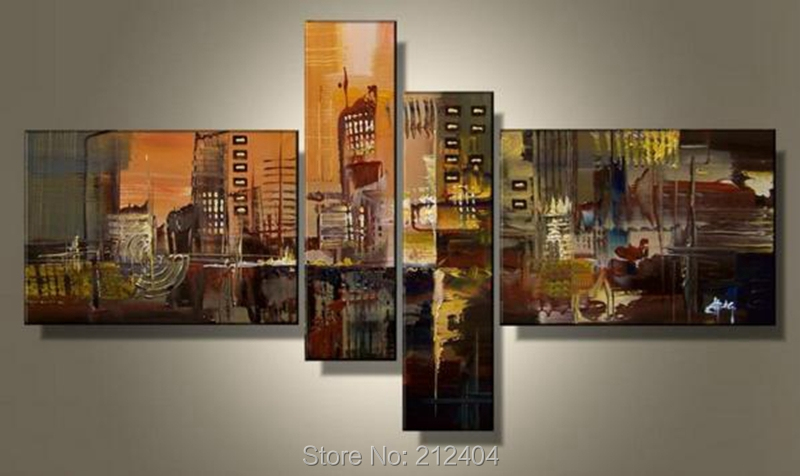 Hand Painted 4 Piece Wall Art Multi Panel Canvas Oil Painting Huge ...
