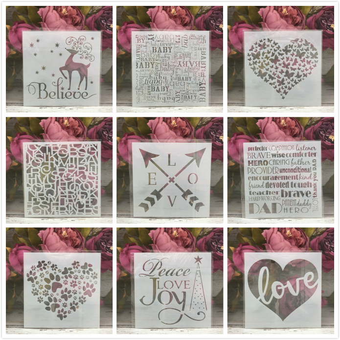 9Pcs 13*13cm Love Heart Deer DIY Layering Stencils Painting Scrapbook Coloring Embossing Album Decorative Card Template