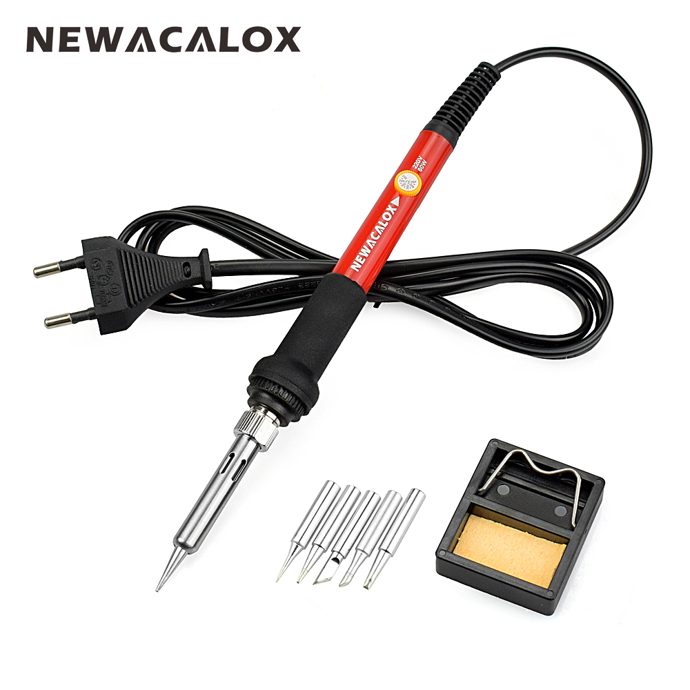 NEWACALOX 220V/110V 60W Electrical Soldering Iron Rework Welding Gun Tool Adjustable Temperature Soldering Station Solder Tip