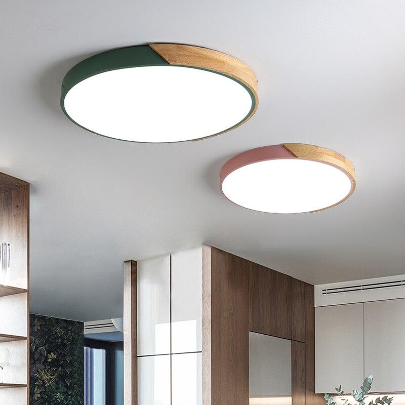 LED โคมไฟเพดานโมเดิร์นโคมไฟโดมไม้สำหรับตกแต่งบ้านพื้นผิวเพดานห้องนั่งเล่นห้องนอนรีโมทคอนโทรล Foyer lighting-ใน ไฟเพดาน จาก ไฟและระบบไฟ บน residential lighting Store