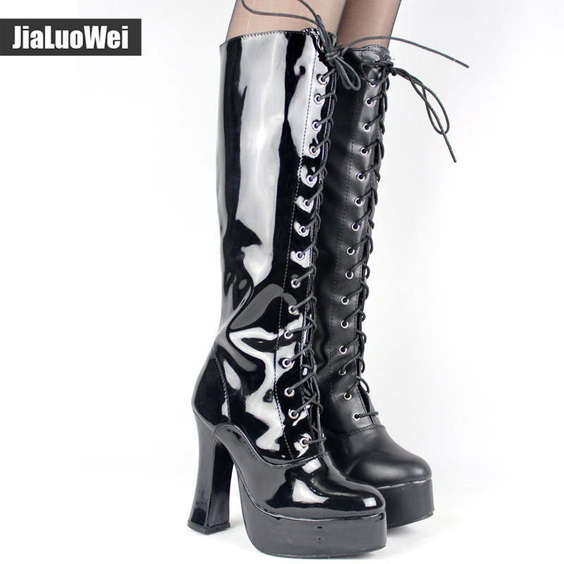 Jialuowei New Women 12CM High chunky heel Sexy platform PU Leather Round Toe lace up Zip Knee-High Boots plus size 36-46 sorbern 17cm square chunky high heel mid calf boots lace up round toe women boots chunky platform boots plus size women autumn