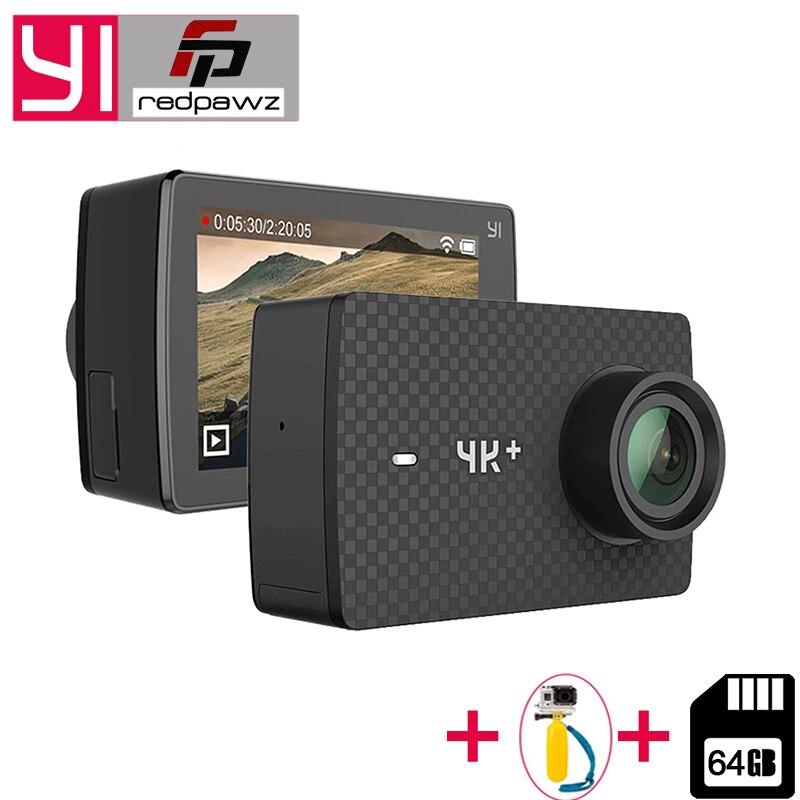 YI 4 K Plus caméra d'action + 64 GB SD Carte 2.19 «Ambarella H2 pour SONY IMX377 12MP 155 Degrés 4 K Ultra HD pour Xiaomi 4 K + Sport Cam