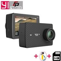 Yi 4k Plus действие Камера + 64 ГБ SD карты 2,19 Ambarella H2 для SONY IMX377 12MP 155 градусов 4 К Ultra HD для Xiaomi 4 К + спортивные Cam