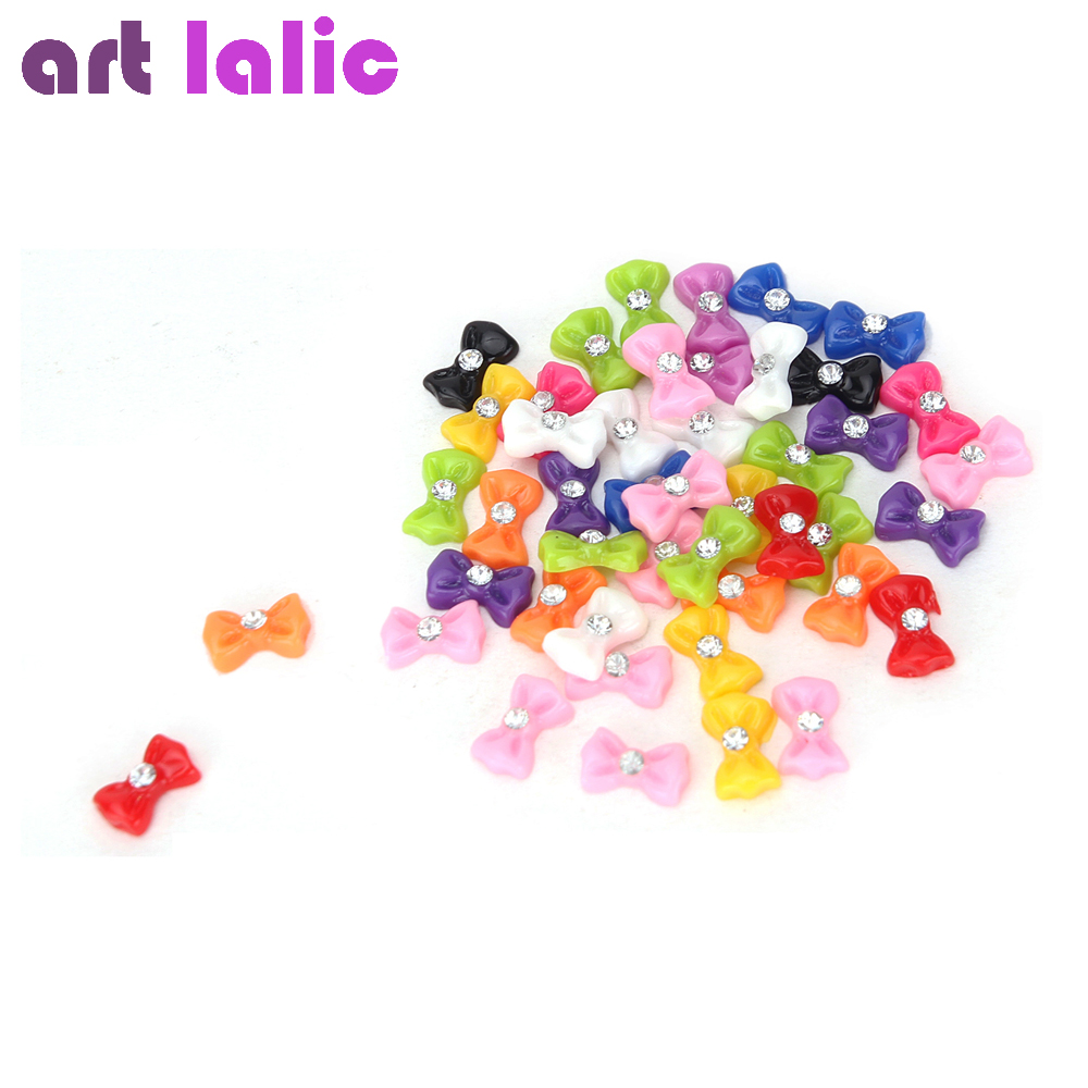 Cute 45 Pcs/Set 1.2cm 3D Nail Art Decorations Mix Bow Tie Rhinestones Tips Decoration Tools bluezoo 10pcs black 3d alloy bow tie nail rhinestones decorations nail art diy decoration glitters slices beauty nail stud tips