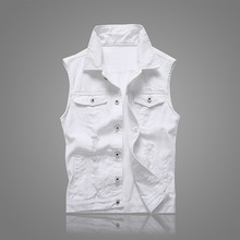 Summer Men Vest Pockets Sleeveless Frayed Denim Outwear Vests For Hole Jeans Solid Cardigan Waistcoat Male