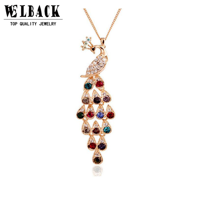 2015 nowe mody kobiet pełne rhinestone peacock długi projekt długi naszyjnik kryształ oświadczenie naszyjnik