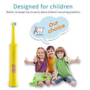 Image 4 - HERE MEGA elektryczna obrotowa szczoteczka do zębów dziecko ładowania baterii szczotka do zębów Dupont szczotka bezpieczny, zdrowy 2 tryby czyszczenia