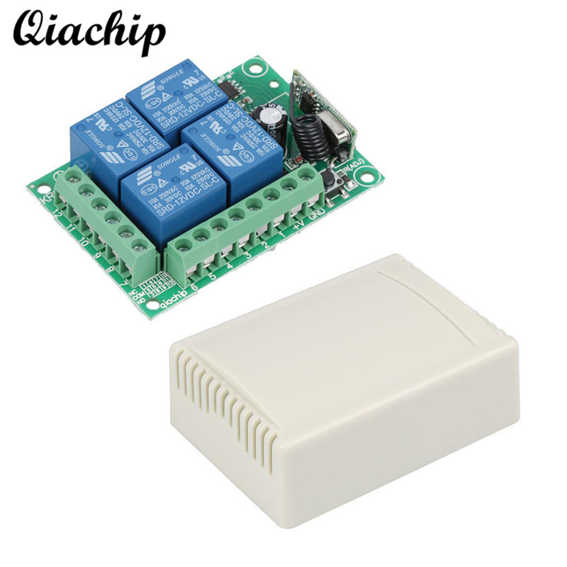 QIACHIP 433Mhz DC 12V 4CH Wireless Learning Button RF Relay Remote Control Switch RF Receiver 433 Mhz Remote Control Module Diy new 1ch 7v 12v 24v dc relay module switch wifi rf 433mhz wireless remote control timer switches for light work by phone