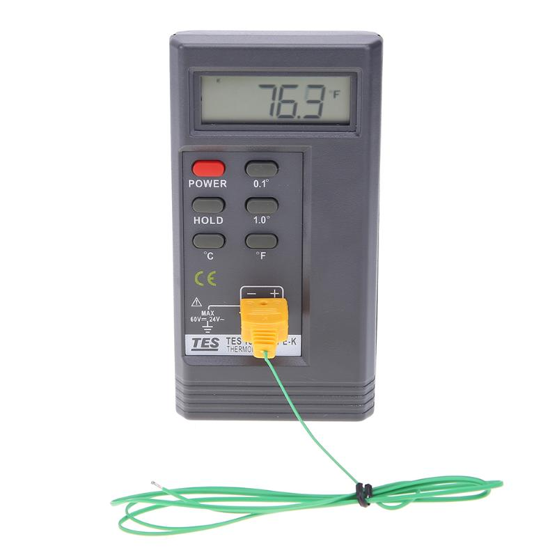 Digital Display LCD K Type Thermometer Contact Type Surface Temperature Meter Gague Single Input + 1 Thermocouple 2m Probe ...