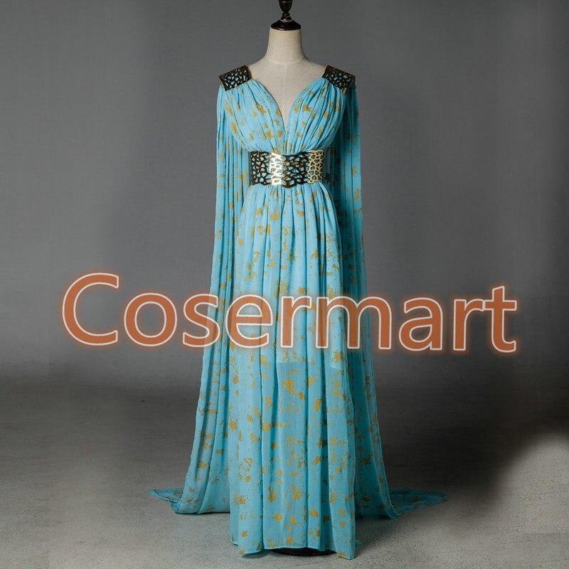 Long Blue Game of Thrones Dress Daenerys Targaryen Cosplay Costume Party Halloween Dress Costumes halloween game of thrones daenerys targaryen qarth dress party cosplay costume and wig