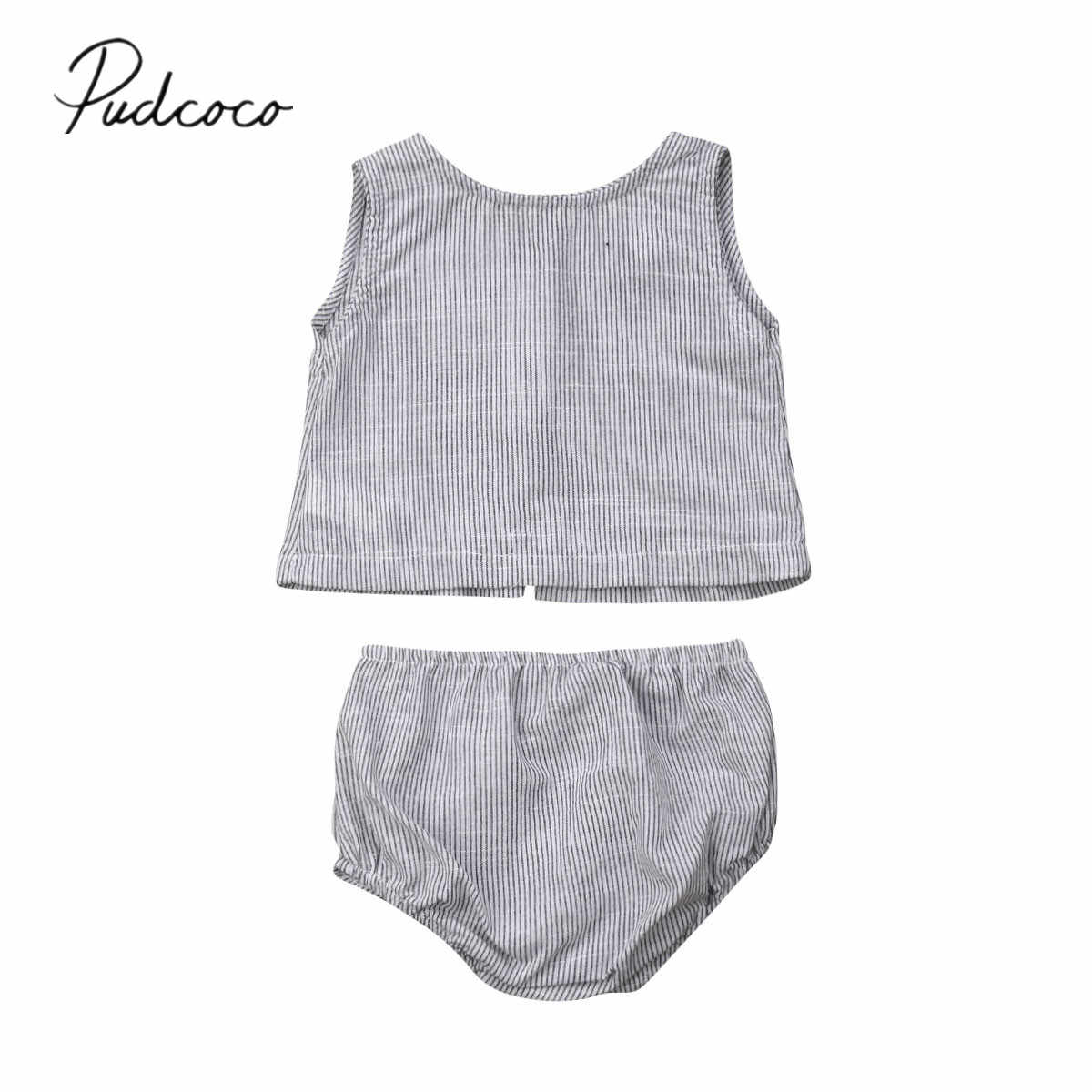 2019 Baby Summer Clothing Newborn Infant Baby Girl Striped Outfit Clothes Sleeveless T-shirt Tops+PP Short Pants Casual Sets