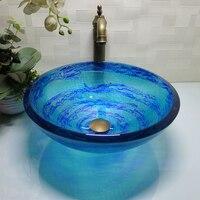 Banheiro redondo vidro temperado acima da bacia de lavagem do balcão vestiário bancada superior vessel sink lo629215