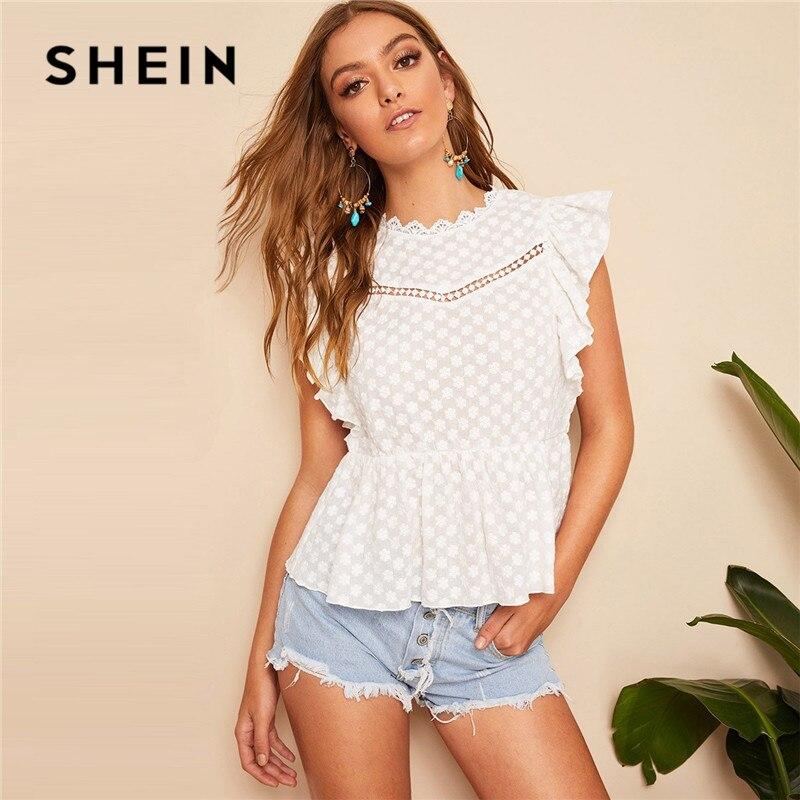 d54867d6ebc2 SHEIN de Armhole de encaje cerradura chaqueta mujer blusa blanca de verano  Boho playa sin mangas ...