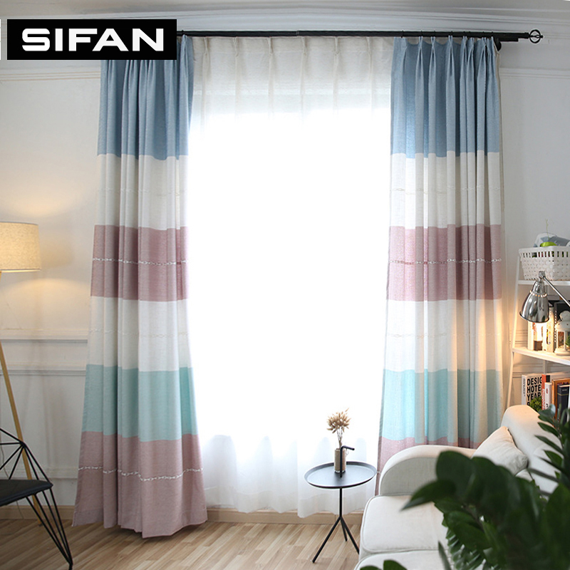 Colorful Living Room Curtains: Colorful Horizontal Striped Thick Jacquard Faux Linen