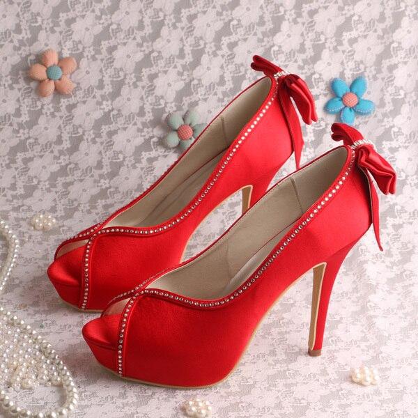 (20 Colors)Custom Handmade Red Bride Shoes Wedding Platform Spring Pumps High Heeled with Bowtie