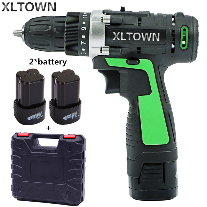 XLTOWN new 16.8v Electric Drill with 2 battery Electric Screwdriver Rechargeable Two-Speed Electric Screwdriver power tools free shipping brand proskit upt 32007d frequency modulated electric screwdriver 2 electric screwdriver bit 900 1300rpm tools