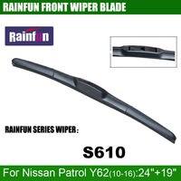 RAINFUN dédié lame d'essuie-glace de voiture pour Nissan Patrol Y62 (10-16), 24 + 19 POUCES Voiture D'essuie-Glace avec haute qualité en caoutchouc, 2 PCS un lot
