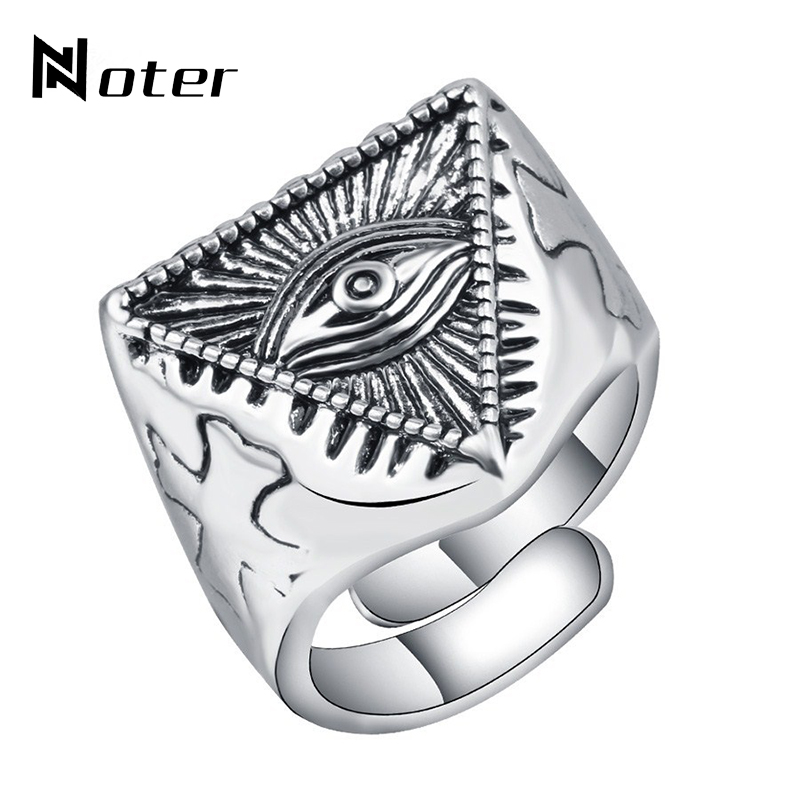 Noter Antique Silver Signet Rings Handstamped Egypt Evil Eyes Resizeble Ring For Women Women Cool Biker Male Jewelry Aneis