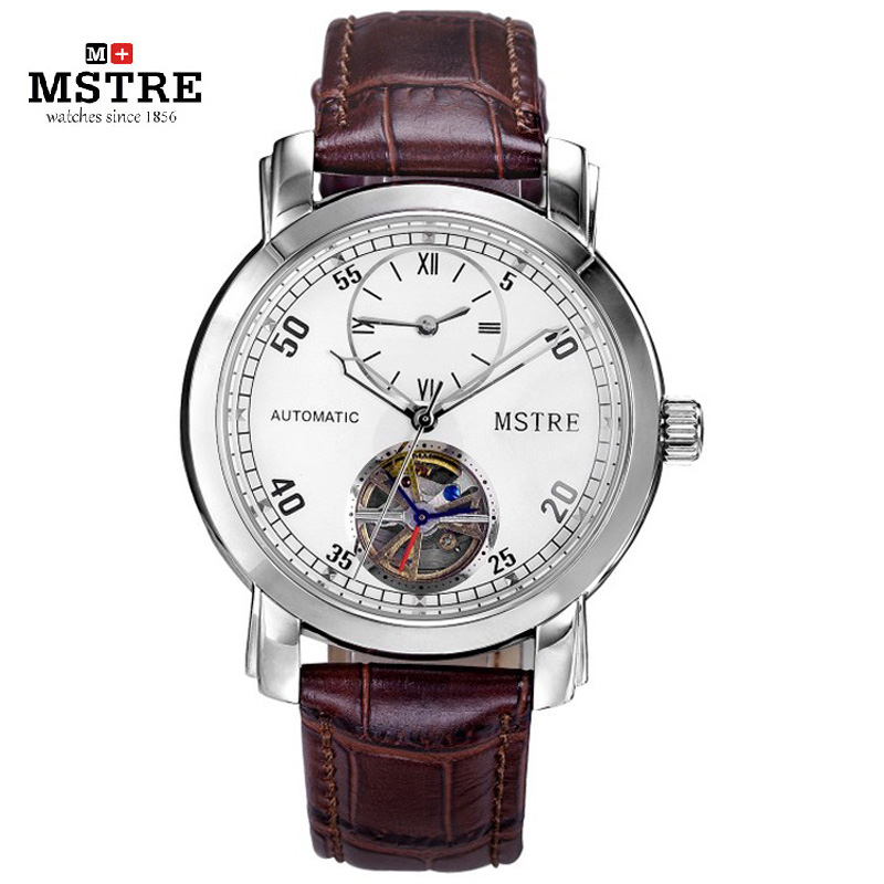 ?Brand Fashion Business Watch Men Auto Mechanical Hollow Out Flywheel Wrist Watches Stainless Steel Leather Strap GMT 2 Time все цены