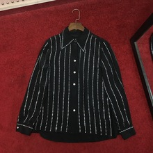 High quality womens silk Shirts 2019 spring loose diamonds stripe & Blouses G036