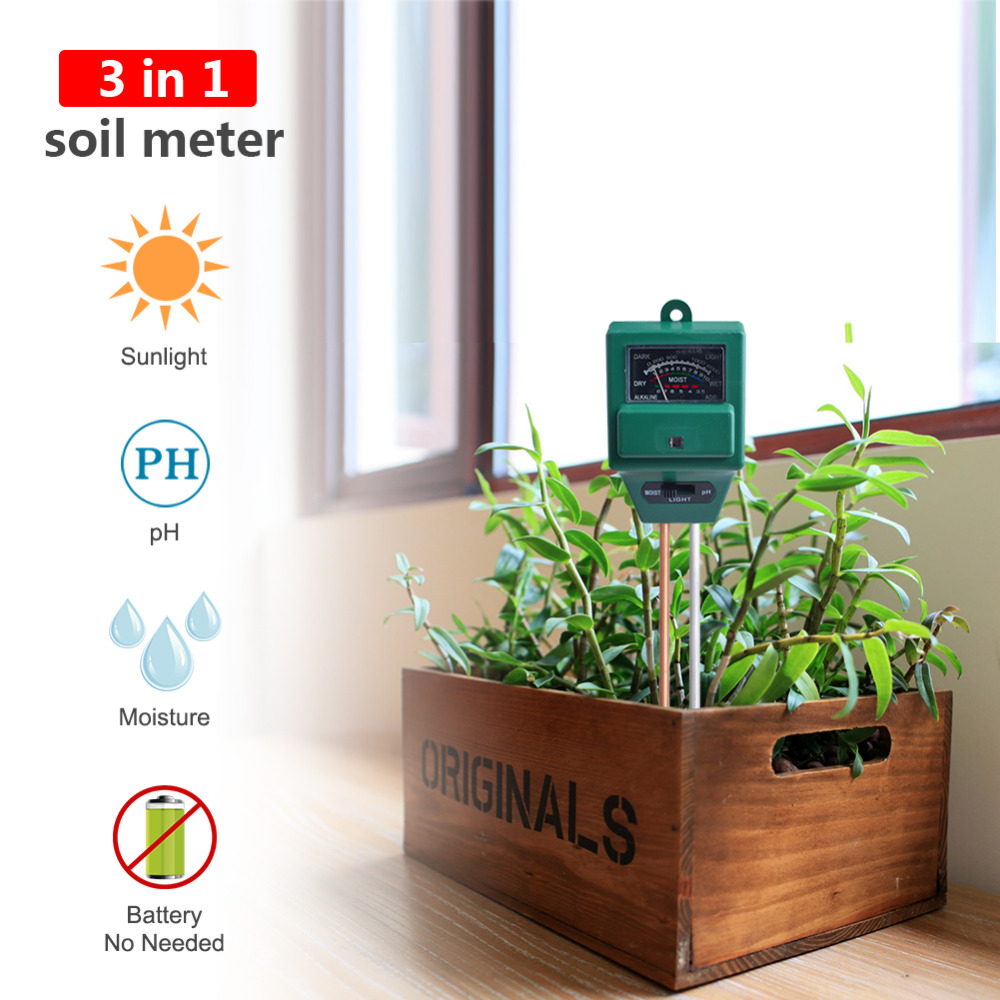 10 Pieces Lot 3in1 Plant Flowers Soil PH Tester Moisture Light Meter Gardening Supplies PH Soil