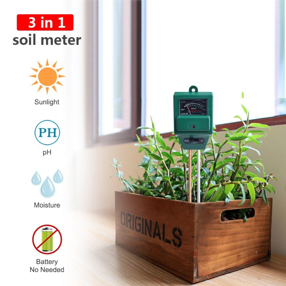 10 Pieces / Lot 3in1 Plant Flowers Soil PH Tester/Moisture/Light Meter Gardening Supplies PH Soil Planting Monitoring Instrument