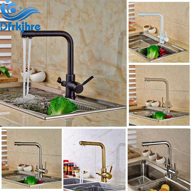 Contemporary Kitchen Sink Faucet Deck Mounted Pure Water Mixer Tap Hot and Cold Water Dual Handle Faucets Crane все цены