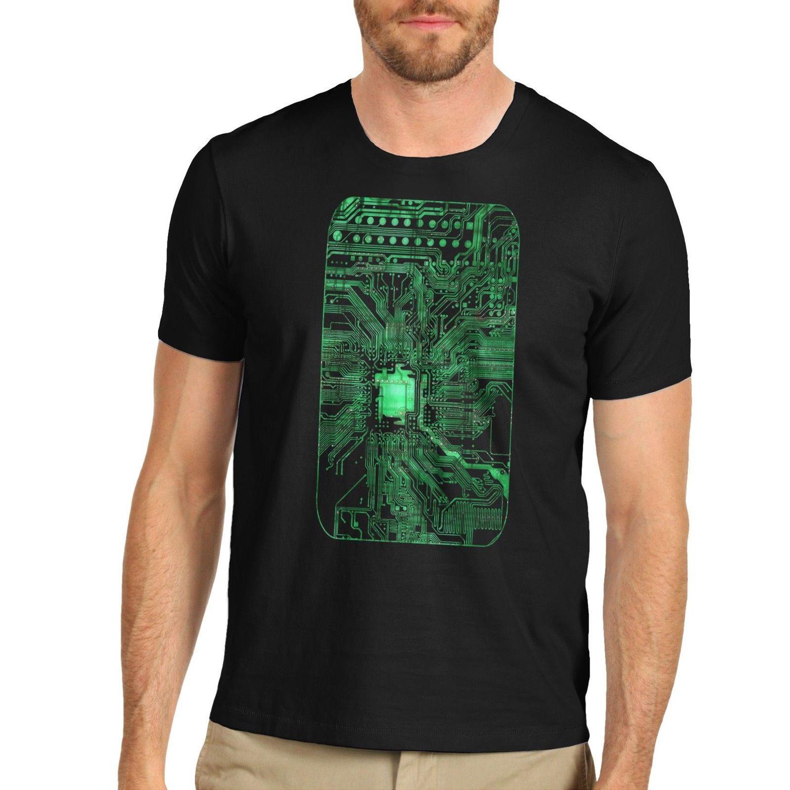 T Shirts Clothing Free Shipping O-Neck Short Sleeve Fashion Mens Electronic Cool Design Circuit Board Print T Shirts