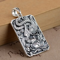 Deer King S925 Silver Jewelry Wholesale Female Phoenix Wear Peony Handmade Silver Pendant Series