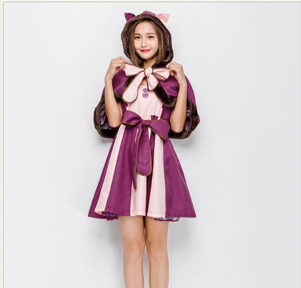 Alice in Wonderland Costume Lolita Dress Cheshire cat Cosplay Fantasia Carnival Halloween Costumes for Women