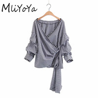 MLIYOYA Fashion Pearl Decor Black White Plaid Women Blouses Long Sleeve Strap Drawstring Autumn New Pullover