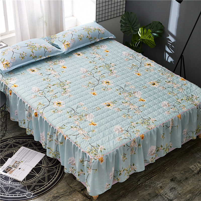 Bed skirt Multi-color bed skirts Thick with cotton bed skirt bed covers  king size bedspreads  bedskirt  plant print skirt