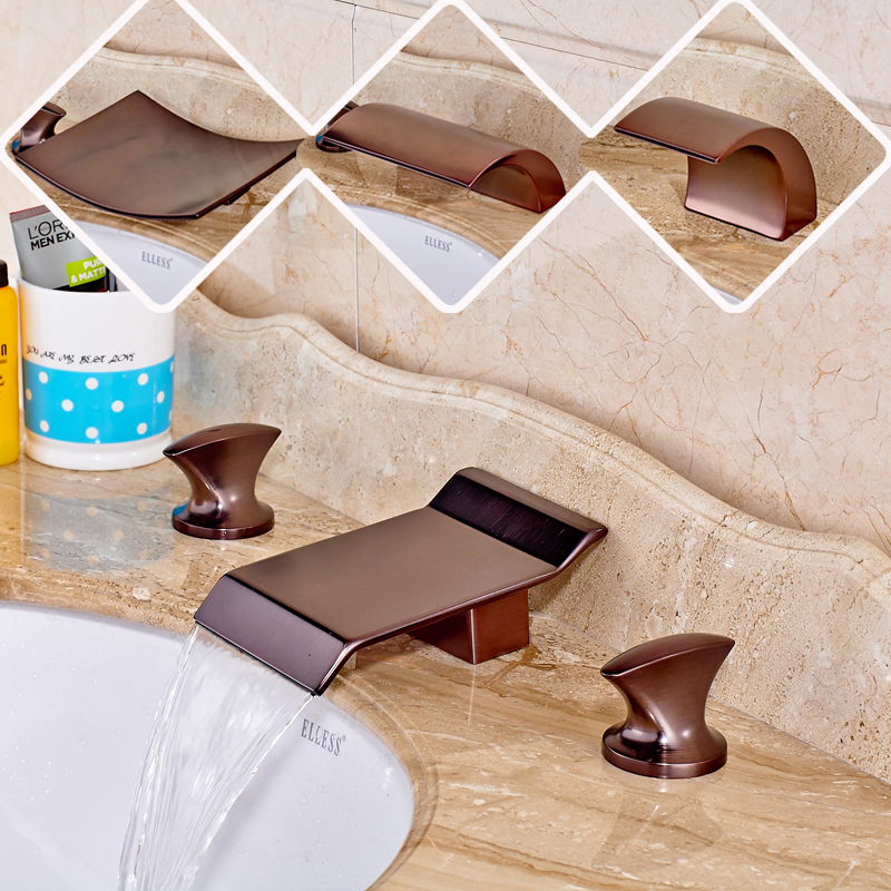 New Product Oil Rubbed Bronze Bathroom Waterfall Sink Faucet Widespread Dual Handle Three Hole oil rubbed bronze bathroom tooth brush holder dual ceramic cups crystal holder