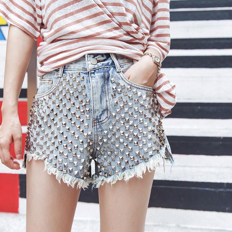 2019 Newest Womens Summer Shorts Punk Rivet Denim Short Sexy Black/ Blue Fashion Streetwear Female Hot Jeans Short D326
