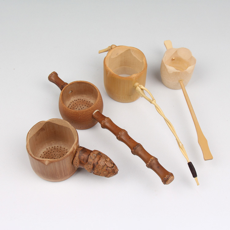 bamboo tea leaking filter bamboo root handle the natural punching filter novelty homeTool tea accessories no