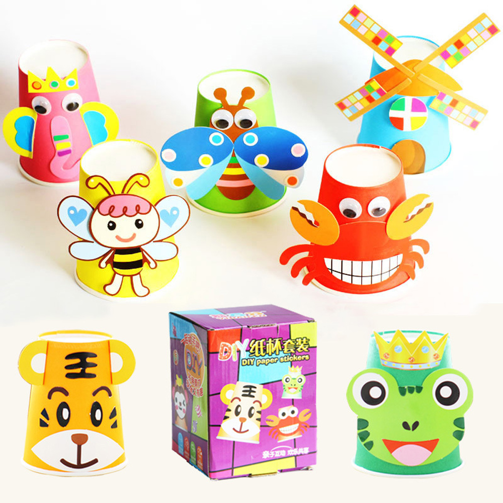12pcs DIY Paper Stickers Handmade Craft Toys Cartoon Animals Paper Cup Stickers Kids School Art Craft Educational Toys