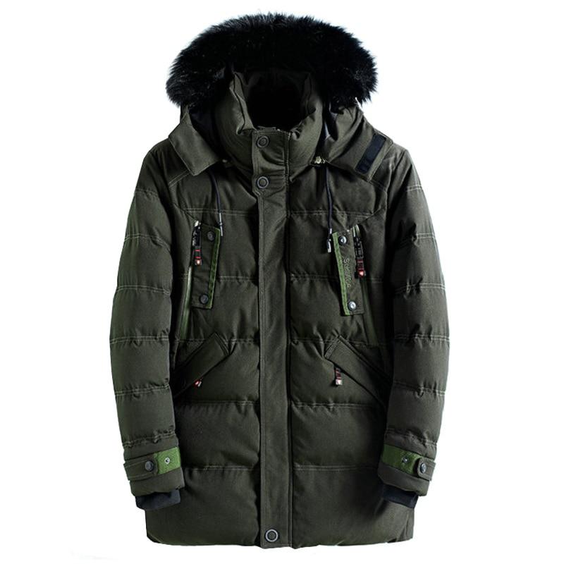 drop shipping Men Winter Jacket and coats Solid Thick Warm Fur Hood Mens   Parkas   Casual Slim Windbreaker Male Overcoat ABZ83