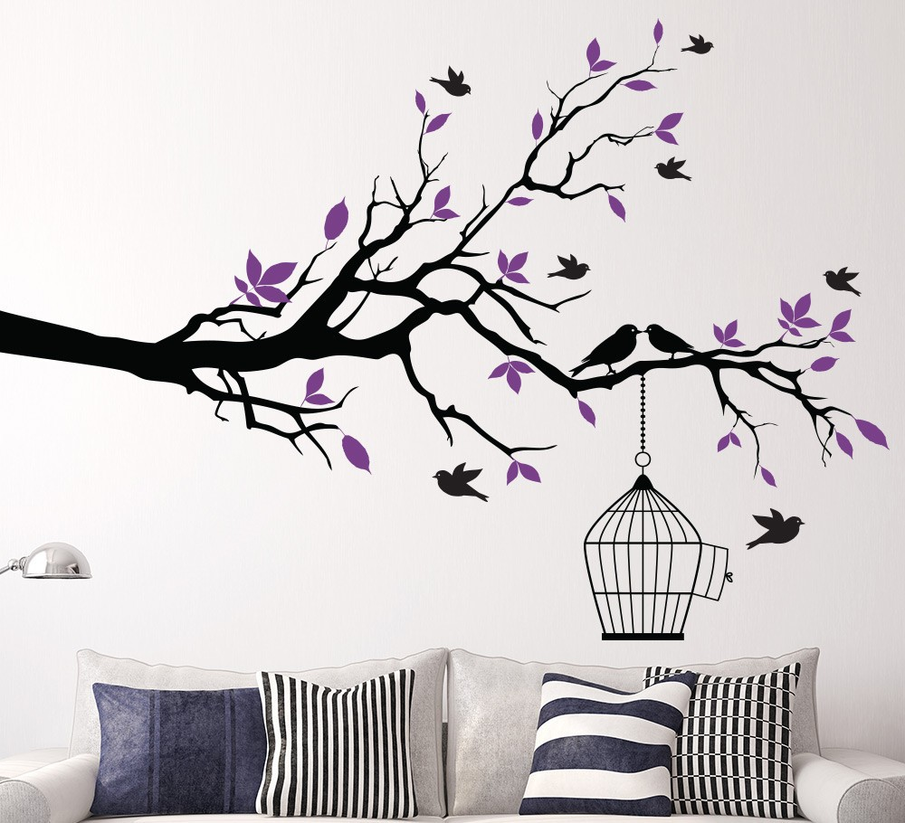 Buy tree branch with bird cage wall art for Stickers para pared decorativos