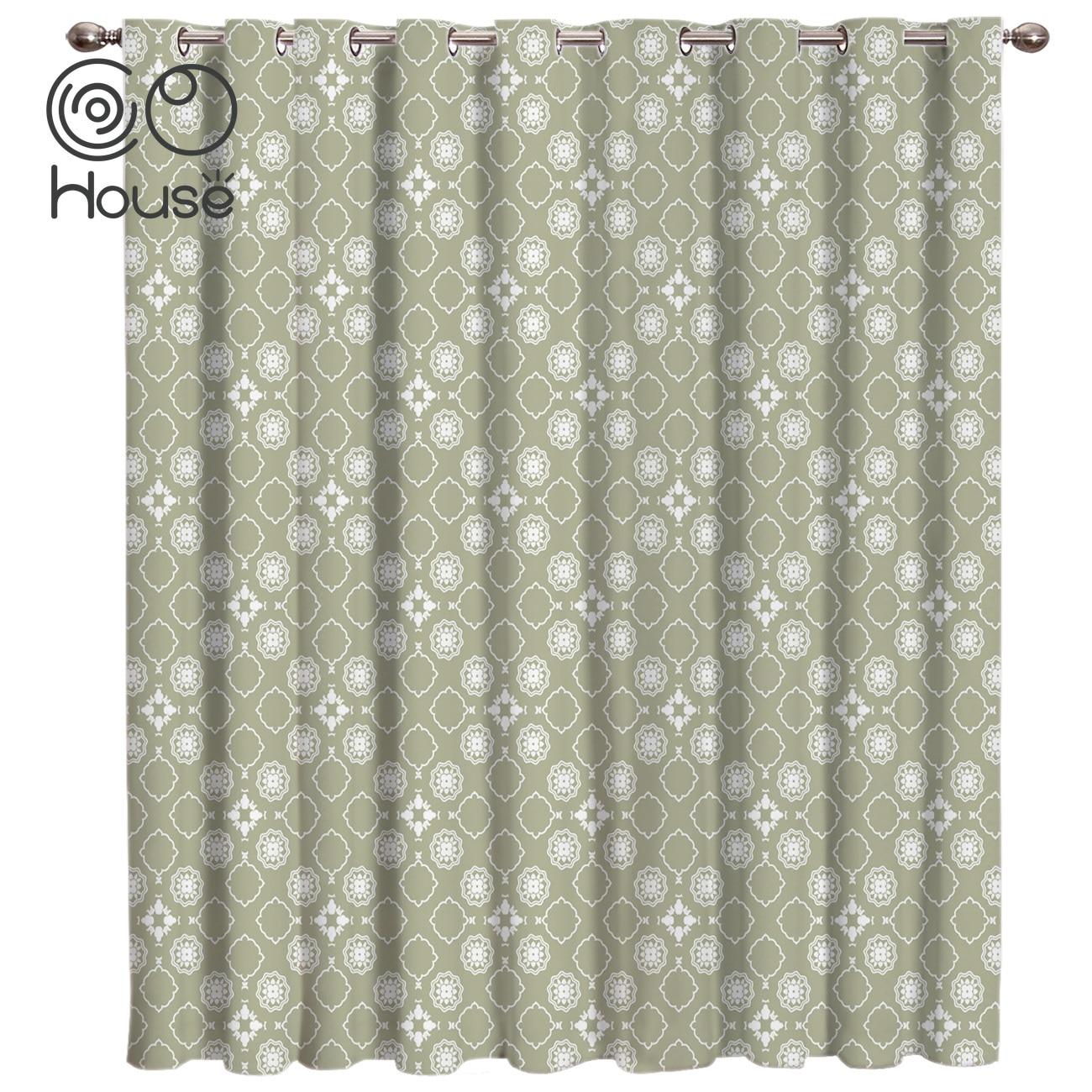 COCOHouse Bohemia Retro Ethnic Green Window Treatments Curtains Valance Living Room Outdoor Bedroom Indoor Fabric Decor