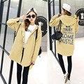 2016 Новый Корейский моды диких длинные случайные свободные пальто печати письма С Капюшоном Траншеи Куртки Женщин Пальто 5 цвета и 6 размер
